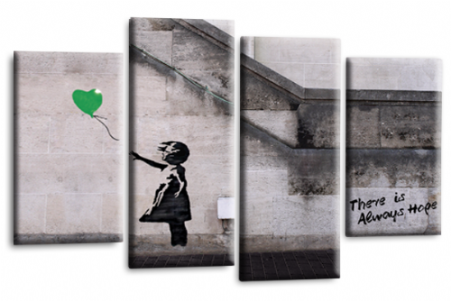Banksy Canvas Wall Art Picture Print Green Balloon Girl Hope